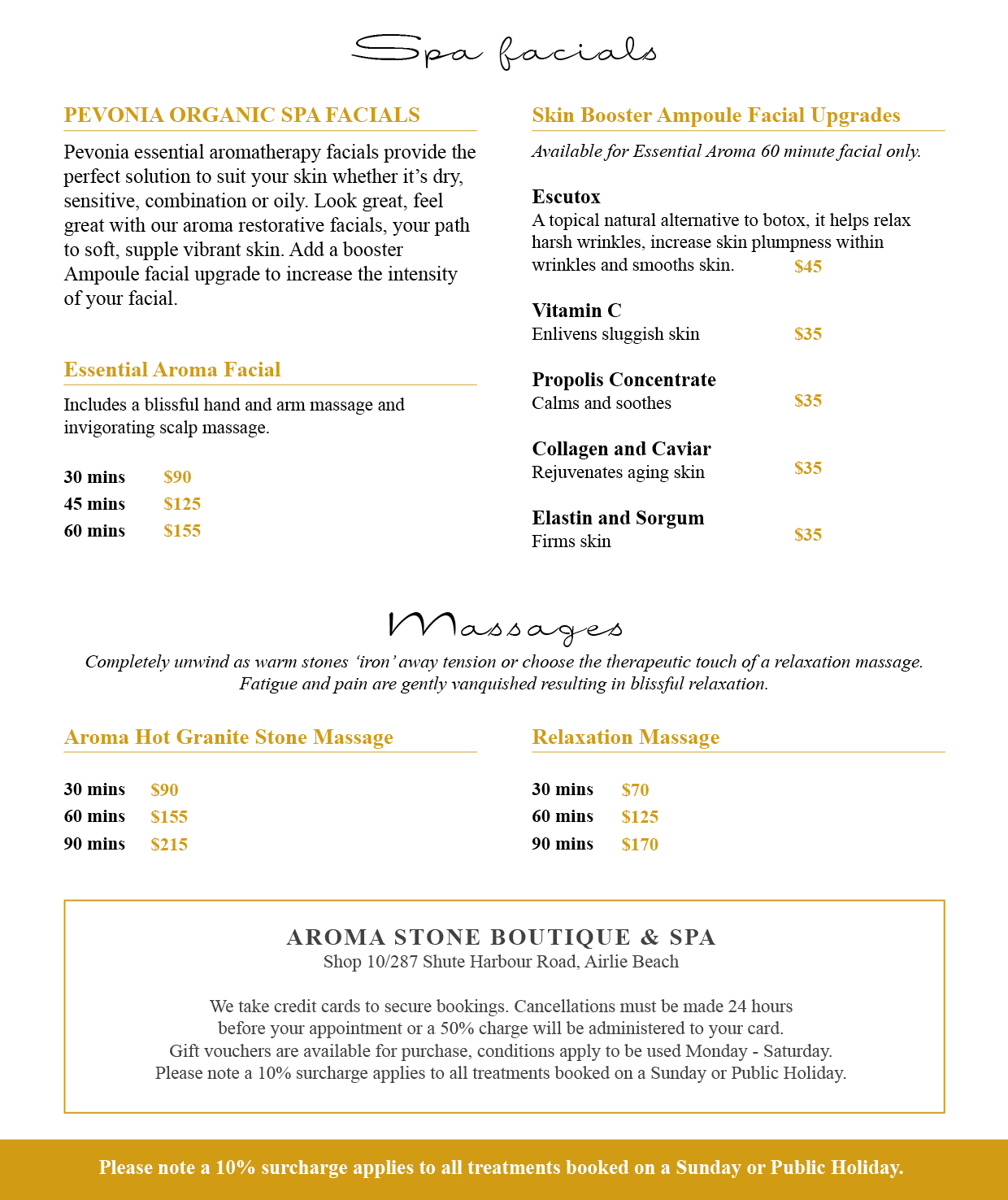 Aroma Stone Boutique and Spa Whitsundays Day Spa Menu